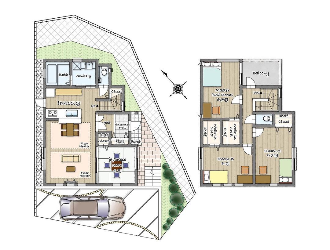 グランステージくずは モデルハウスの見取り図