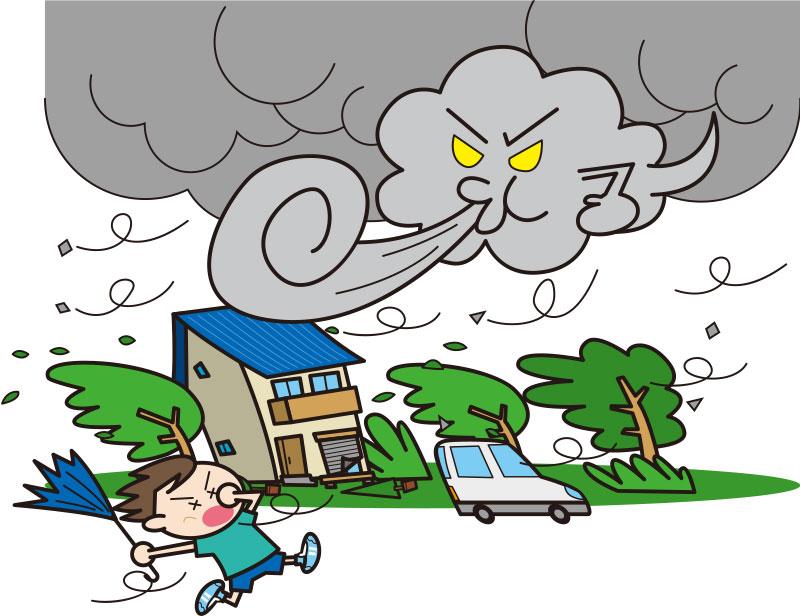 大型台風が大きな被害のイラスト