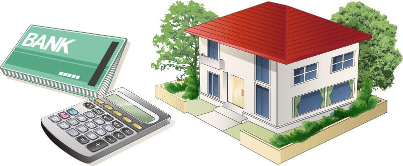 住宅と電卓と預金通帳の画像