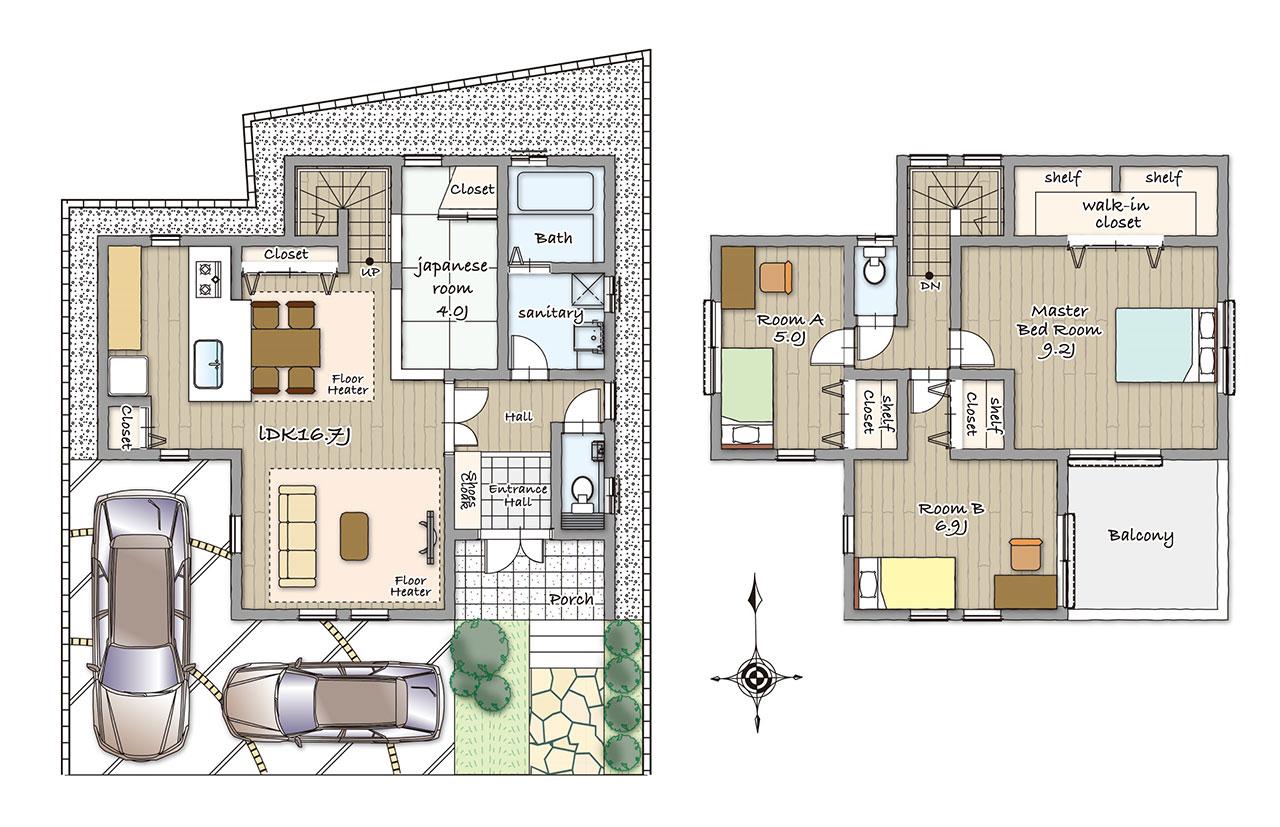 グランステージくずはⅢ モデルハウスの間取り図