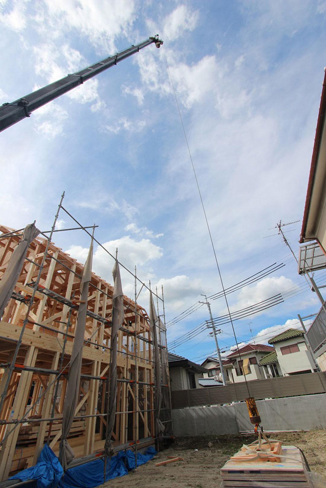 アスカーサ楠葉野田Ⅰ 棟上げ~屋根の野地板まで施工の写真