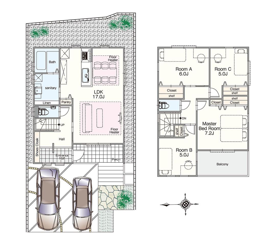グランステージくずはⅢ モデルハウスGS-101号室の間取り図