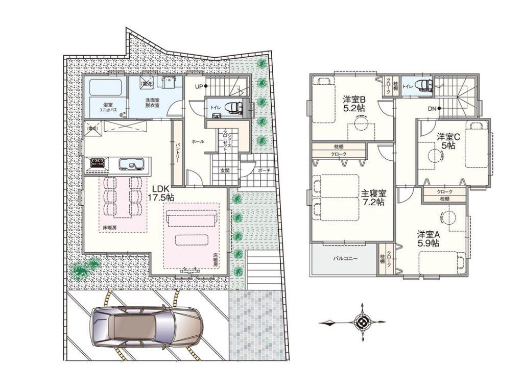 グランステージくずはⅢ モデルハウスGS-113号室の間取り図